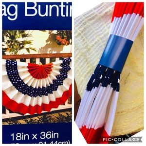 """Other - NIP American Flag Bunting 18x 36"""" w/grommets decor"""